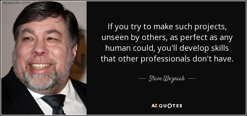 If you try to make such projects, unseen by others, as perfect as any human could, you'll develop skills that other professionals don't have. - Steve Wozniak