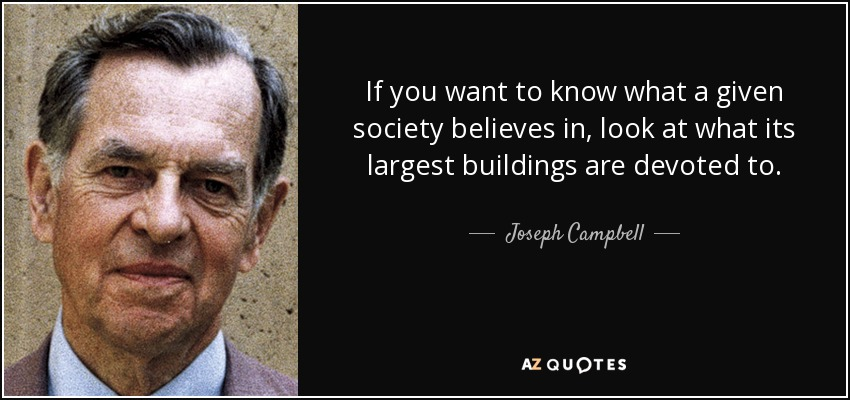 If you want to know what a given society believes in, look at what its largest buildings are devoted to. - Joseph Campbell