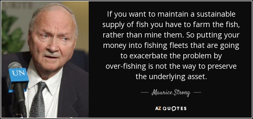 If you want to maintain a sustainable supply of fish you have to farm the fish, rather than mine them. So putting your money into fishing fleets that are going to exacerbate the problem by over-fishing is not the way to preserve the underlying asset. - Maurice Strong