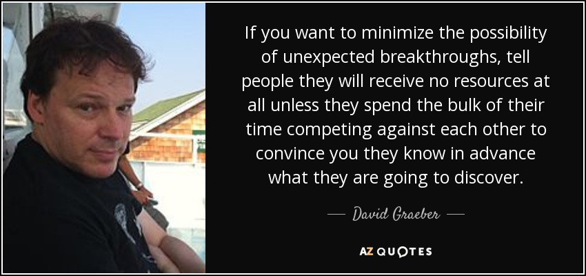 If you want to minimize the possibility of unexpected breakthroughs, tell people they will receive no resources at all unless they spend the bulk of their time competing against each other to convince you they know in advance what they are going to discover. - David Graeber