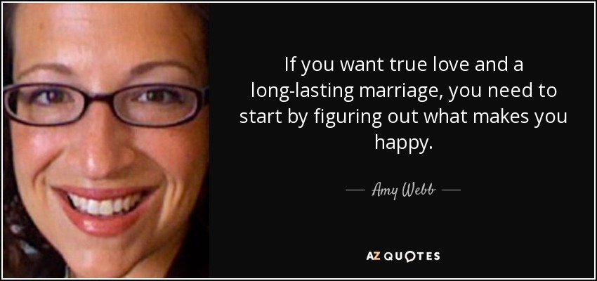 If you want true love and a long-lasting marriage, you need to start by figuring out what makes you happy. - Amy Webb