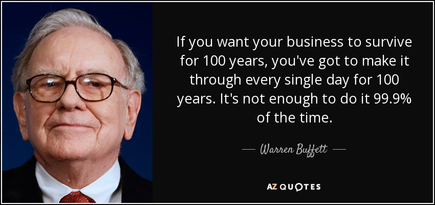 If you want your business to survive for 100 years, you've got to make it through every single day for 100 years. It's not enough to do it 99.9% of the time. - Warren Buffett
