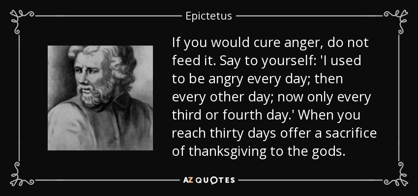 If you would cure anger, do not feed it. Say to yourself: 'I used to be angry every day; then every other day; now only every third or fourth day.' When you reach thirty days offer a sacrifice of thanksgiving to the gods. - Epictetus