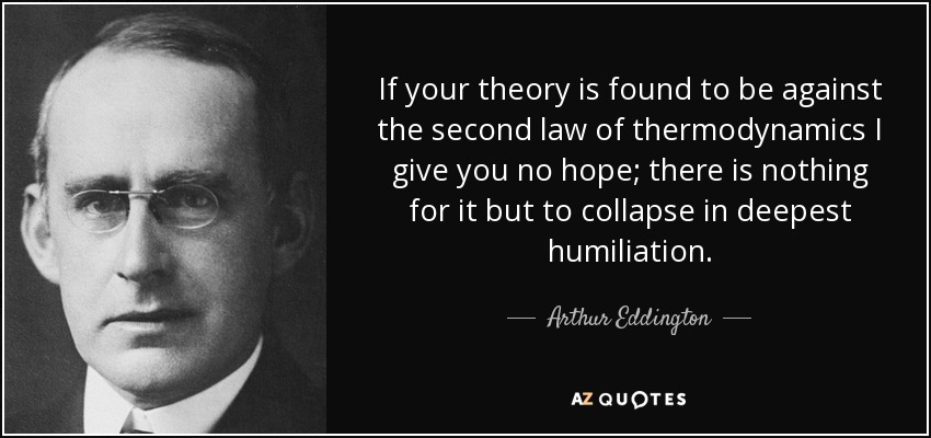 If your theory is found to be against the second law of thermodynamics I give you no hope; there is nothing for it but to collapse in deepest humiliation. - Arthur Eddington