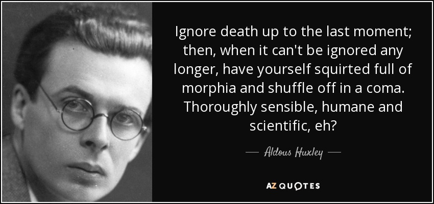 Ignore death up to the last moment; then, when it can't be ignored any longer, have yourself squirted full of morphia and shuffle off in a coma. Thoroughly sensible, humane and scientific, eh? - Aldous Huxley