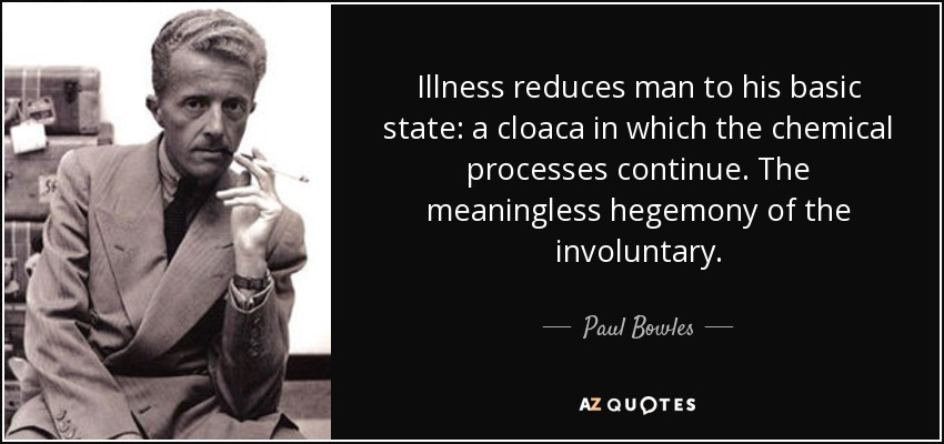 Illness reduces man to his basic state: a cloaca in which the chemical processes continue. The meaningless hegemony of the involuntary. - Paul Bowles