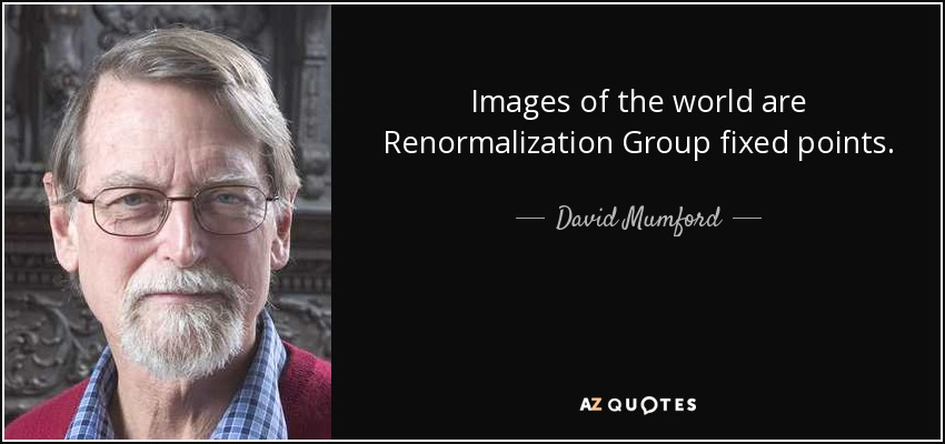 Images of the world are Renormalization Group fixed points. - David Mumford