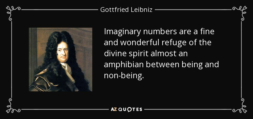 Imaginary numbers are a fine and wonderful refuge of the divine spirit almost an amphibian between being and non-being. - Gottfried Leibniz