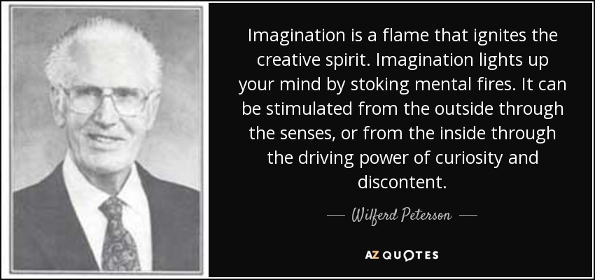 Imagination is a flame that ignites the creative spirit. Imagination lights up your mind by stoking mental fires. It can be stimulated from the outside through the senses, or from the inside through the driving power of curiosity and discontent. - Wilferd Peterson