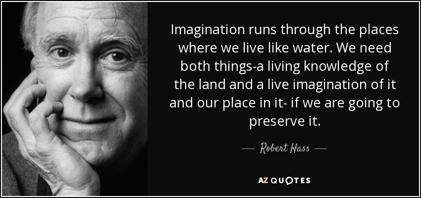 Imagination runs through the places where we live like water. We need both things-a living knowledge of the land and a live imagination of it and our place in it- if we are going to preserve it. - Robert Hass