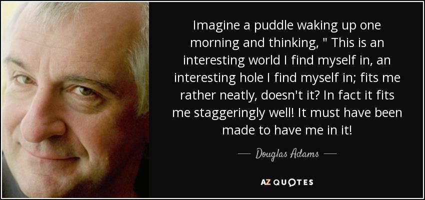 Imagine a puddle waking up one morning and thinking,