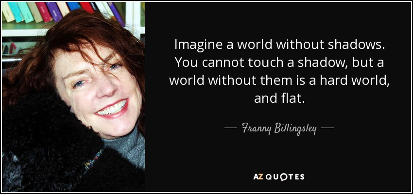 Imagine a world without shadows. You cannot touch a shadow, but a world without them is a hard world, and flat. - Franny Billingsley