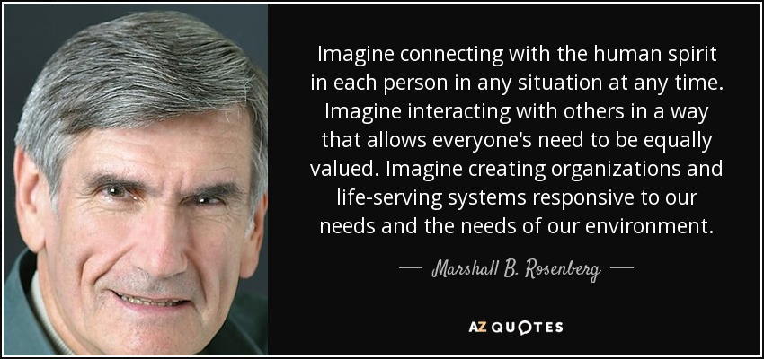 Marshall B Rosenberg Quote Imagine Connecting With The Human