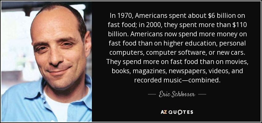 In 1970, Americans spent about $6 billion on fast food; in 2000, they spent more than $110 billion. Americans now spend more money on fast food than on higher education, personal computers, computer software, or new cars. They spend more on fast food than on movies, books, magazines, newspapers, videos, and recorded music—combined. - Eric Schlosser