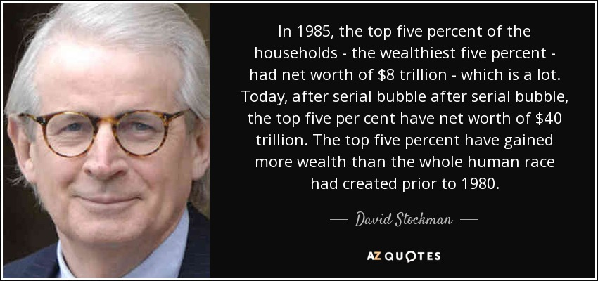 In 1985, the top five percent of the households - the wealthiest five percent - had net worth of $8 trillion - which is a lot. Today, after serial bubble after serial bubble, the top five per cent have net worth of $40 trillion. The top five percent have gained more wealth than the whole human race had created prior to 1980. - David Stockman