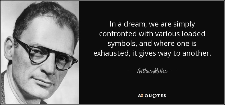 In a dream, we are simply confronted with various loaded symbols, and where one is exhausted, it gives way to another. - Arthur Miller