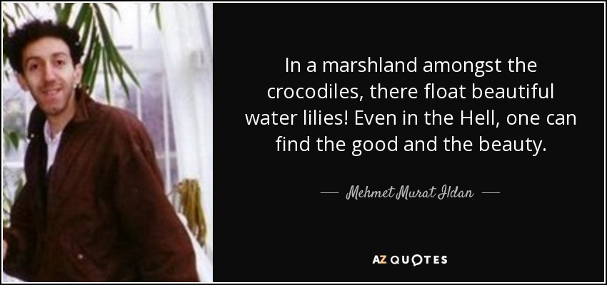 In a marshland amongst the crocodiles, there float beautiful water lilies! Even in the Hell, one can find the good and the beauty. - Mehmet Murat Ildan