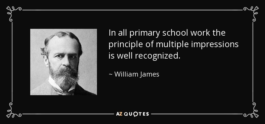In all primary school work the principle of multiple impressions is well recognized. - William James