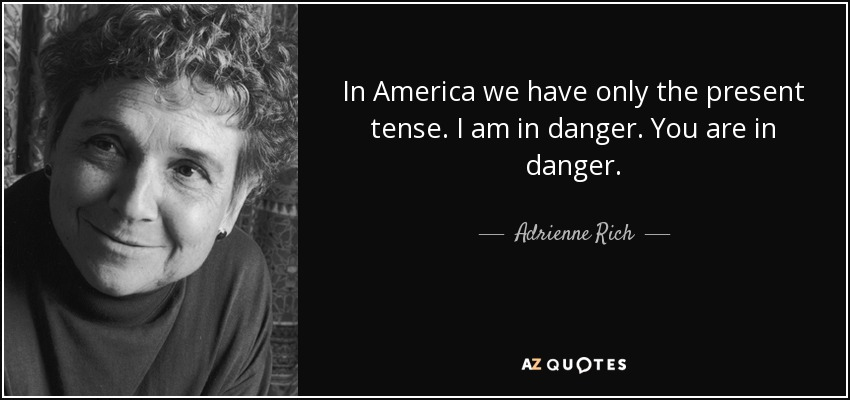 In America we have only the present tense. I am in danger. You are in danger. - Adrienne Rich