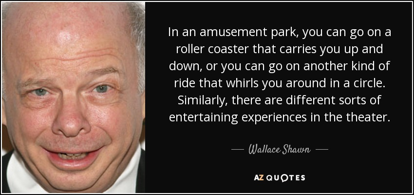 In an amusement park, you can go on a roller coaster that carries you up and down, or you can go on another kind of ride that whirls you around in a circle. Similarly, there are different sorts of entertaining experiences in the theater. - Wallace Shawn