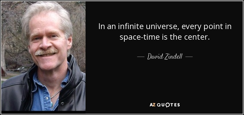In an infinite universe, every point in space-time is the center. - David Zindell
