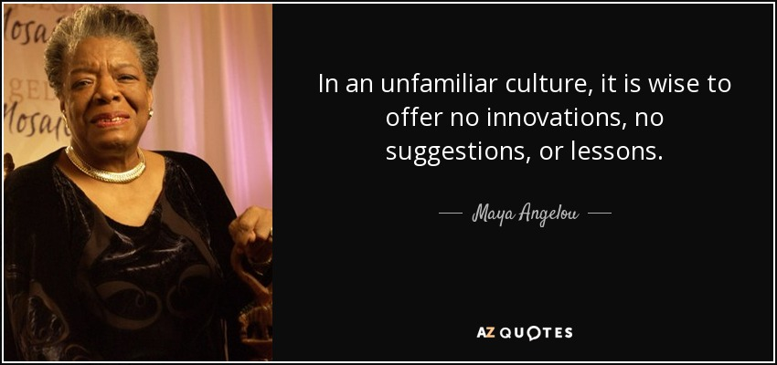 In an unfamiliar culture, it is wise to offer no innovations, no suggestions, or lessons. - Maya Angelou