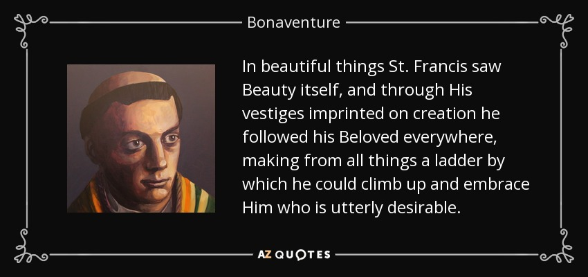 In beautiful things St. Francis saw Beauty itself, and through His vestiges imprinted on creation he followed his Beloved everywhere, making from all things a ladder by which he could climb up and embrace Him who is utterly desirable. - Bonaventure
