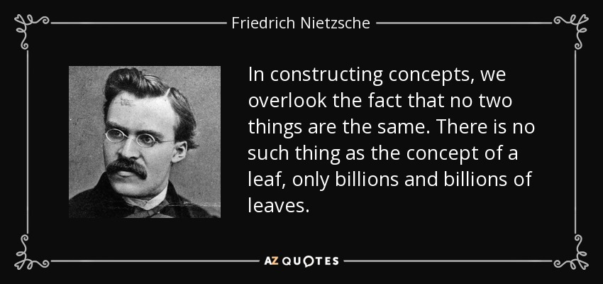 In constructing concepts, we overlook the fact that no two things are the same. There is no such thing as the concept of a leaf, only billions and billions of leaves. - Friedrich Nietzsche