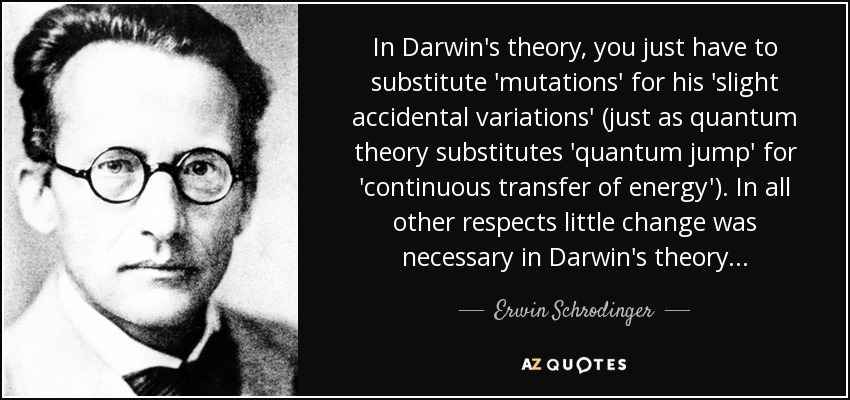 In Darwin's theory, you just have to substitute 'mutations' for his 'slight accidental variations' (just as quantum theory substitutes 'quantum jump' for 'continuous transfer of energy'). In all other respects little change was necessary in Darwin's theory... - Erwin Schrodinger