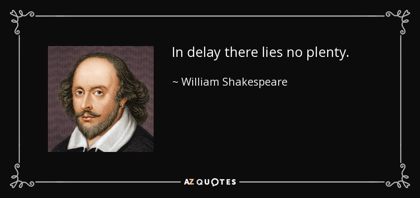 In delay there lies no plenty. - William Shakespeare
