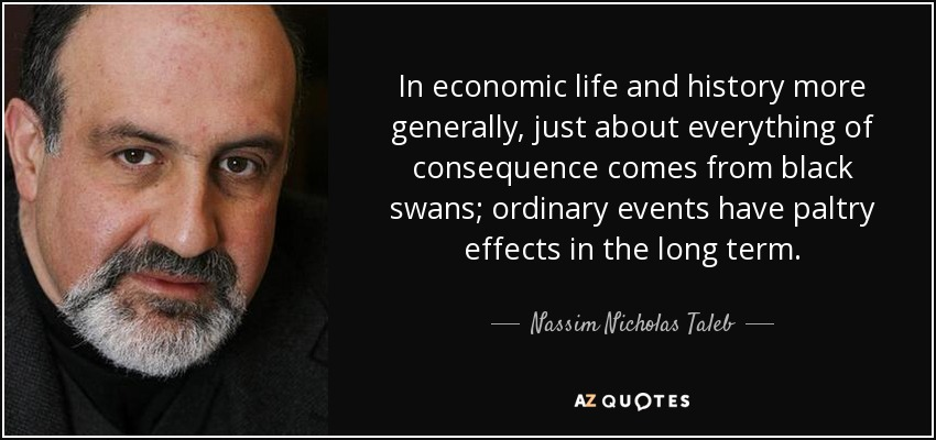 In economic life and history more generally, just about everything of consequence comes from black swans; ordinary events have paltry effects in the long term. - Nassim Nicholas Taleb