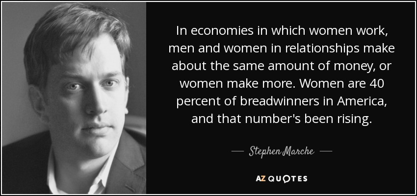 In economies in which women work, men and women in relationships make about the same amount of money, or women make more. Women are 40 percent of breadwinners in America, and that number's been rising. - Stephen Marche