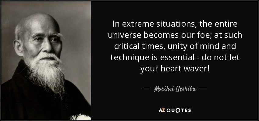 In extreme situations, the entire universe becomes our foe; at such critical times, unity of mind and technique is essential - do not let your heart waver! - Morihei Ueshiba