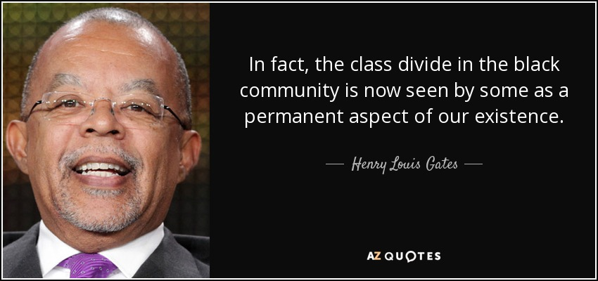 In fact, the class divide in the black community is now seen by some as a permanent aspect of our existence. - Henry Louis Gates