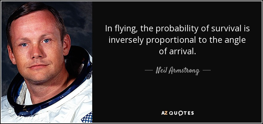 In flying, the probability of survival is inversely proportional to the angle of arrival. - Neil Armstrong