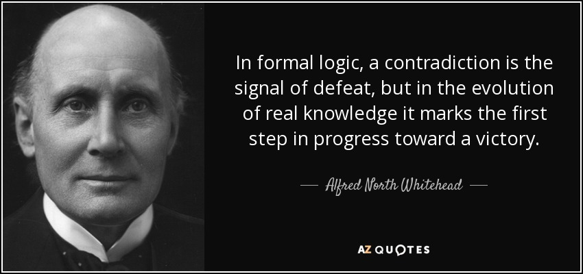 In formal logic, a contradiction is the signal of defeat, but in the evolution of real knowledge it marks the first step in progress toward a victory. - Alfred North Whitehead
