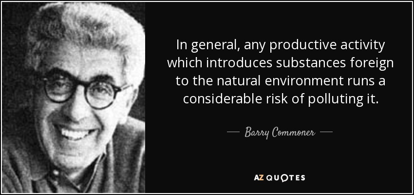In general, any productive activity which introduces substances foreign to the natural environment runs a considerable risk of polluting it. - Barry Commoner