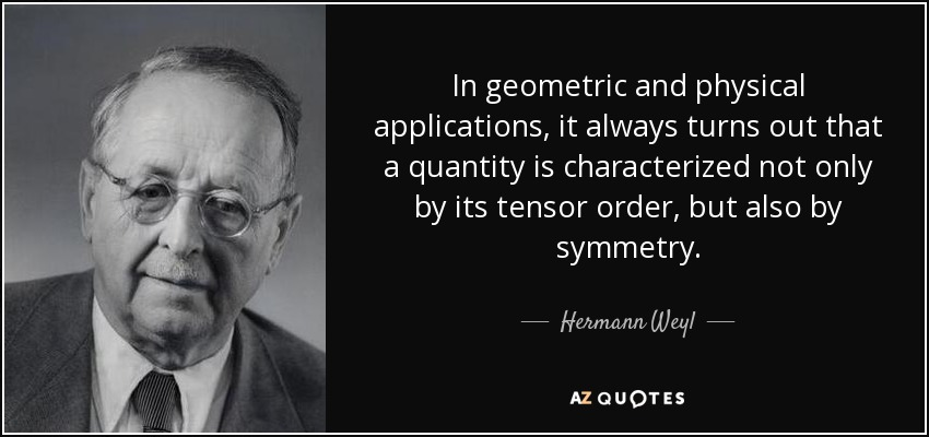 In geometric and physical applications, it always turns out that a quantity is characterized not only by its tensor order, but also by symmetry. - Hermann Weyl