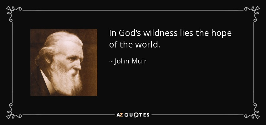 In God's wildness lies the hope of the world. - John Muir
