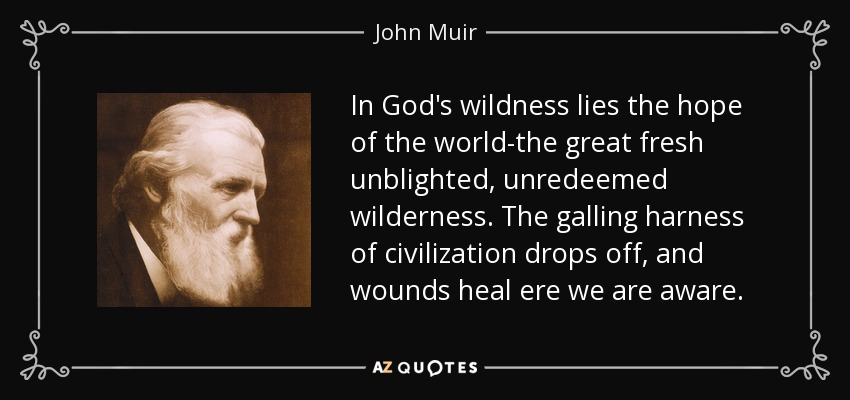 In God's wildness lies the hope of the world-the great fresh unblighted, unredeemed wilderness. The galling harness of civilization drops off, and wounds heal ere we are aware. - John Muir