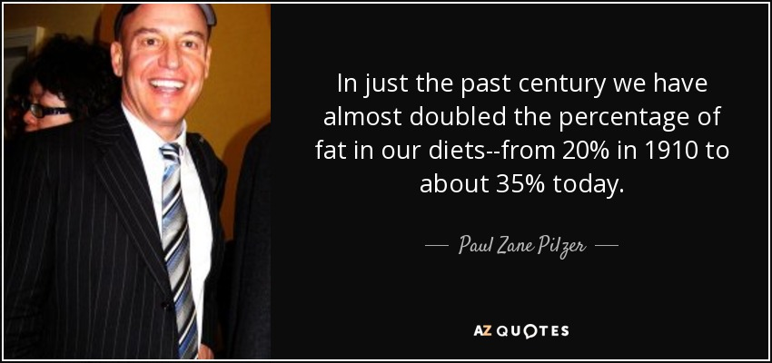 In just the past century we have almost doubled the percentage of fat in our diets--from 20% in 1910 to about 35% today. - Paul Zane Pilzer