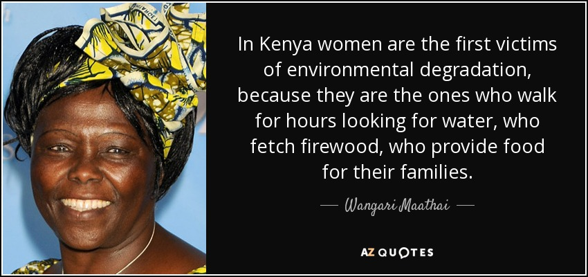 In Kenya women are the first victims of environmental degradation, because they are the ones who walk for hours looking for water, who fetch firewood, who provide food for their families. - Wangari Maathai