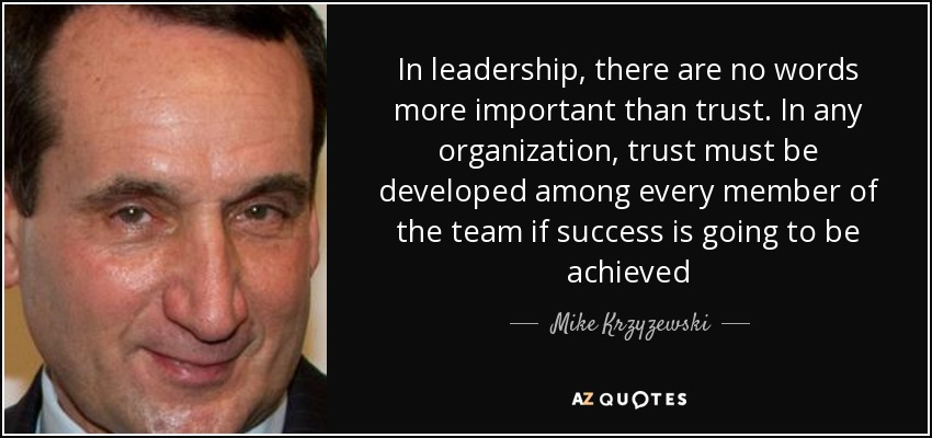 Mike Krzyzewski Quote In Leadership There Are No Words More