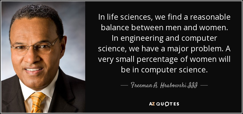 In Life Sciences We Find A Reasonable Balance Between Men And Women Engineering