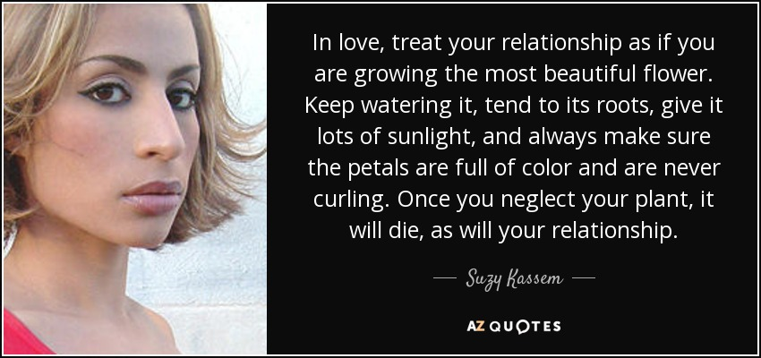 Suzy Kassem Quote In Love Treat Your Relationship As If You Are Simple Quotes About Growing In A Relationship