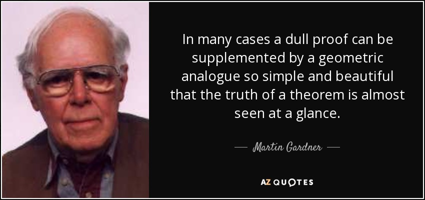 In many cases a dull proof can be supplemented by a geometric analogue so simple and beautiful that the truth of a theorem is almost seen at a glance. - Martin Gardner