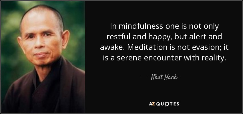 In mindfulness one is not only restful and happy, but alert and awake. Meditation is not evasion; it is a serene encounter with reality. - Nhat Hanh
