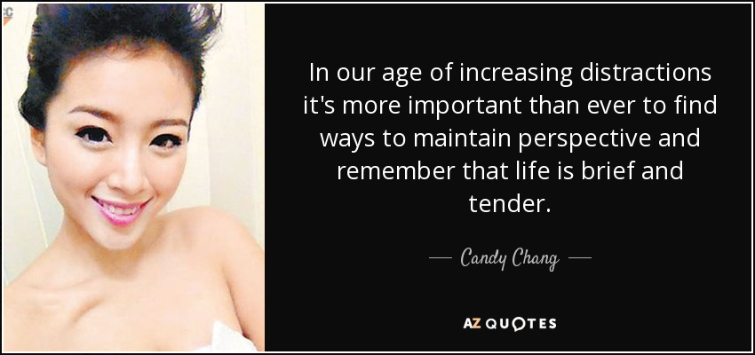 In our age of increasing distractions it's more important than ever to find ways to maintain perspective and remember that life is brief and tender. - Candy Chang