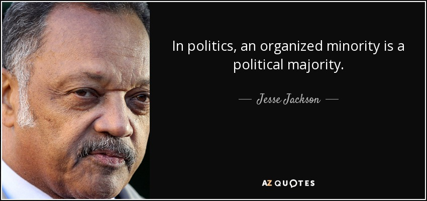 In politics, an organized minority is a political majority. - Jesse Jackson