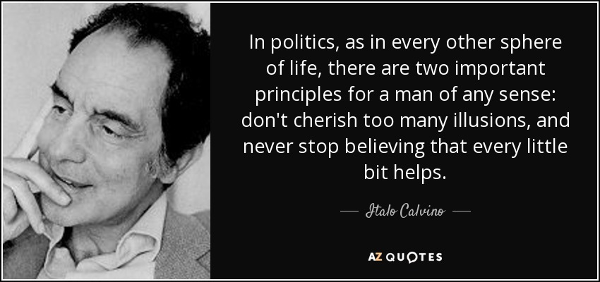 In politics, as in every other sphere of life, there are two important principles for a man of any sense: don't cherish too many illusions, and never stop believing that every little bit helps. - Italo Calvino